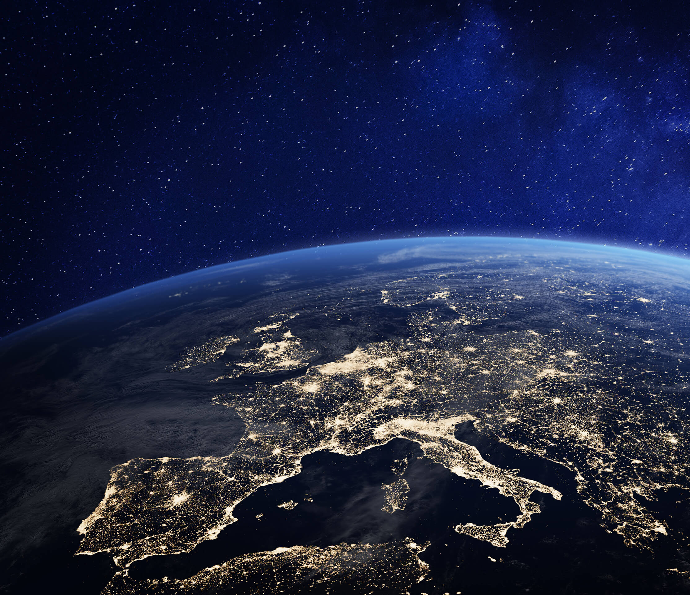 Europe from at night from space